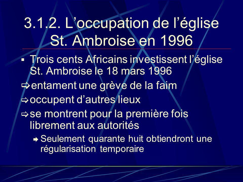 3.1.2. Loccupation de léglise St. Ambroise en 1996 Trois cents Africains investissent léglise St.