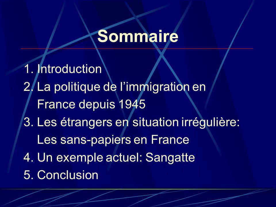 Sommaire 1. Introduction 2. La politique de limmigration en France depuis 1945 3.