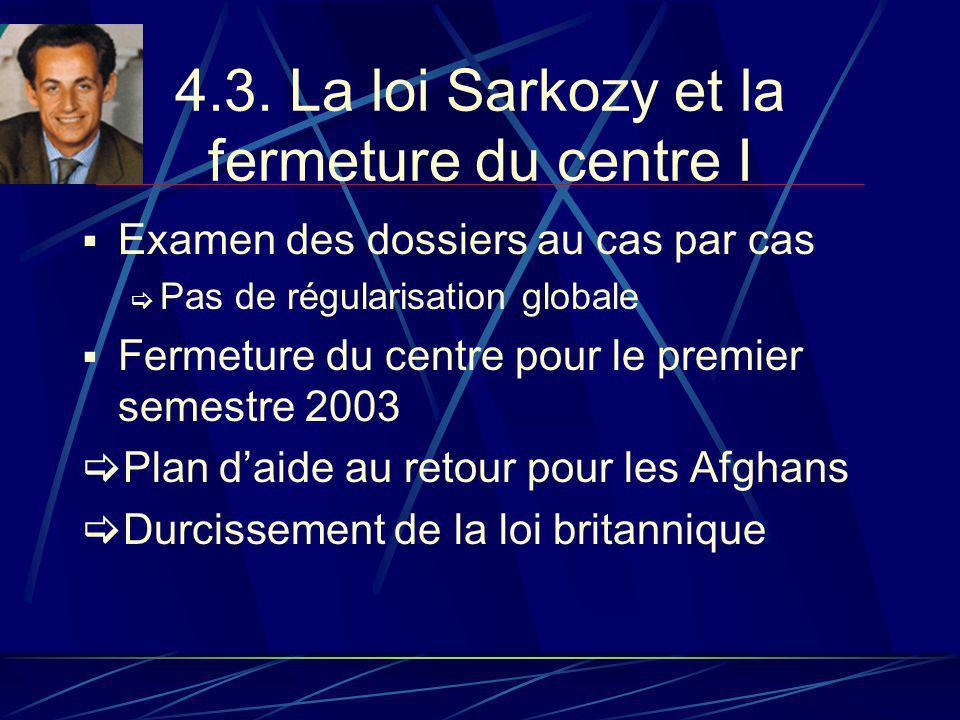 4.3. La loi Sarkozy et la fermeture du centre I Examen des dossiers au cas par cas Pas de régularisation globale Fermeture du centre pour le premier s