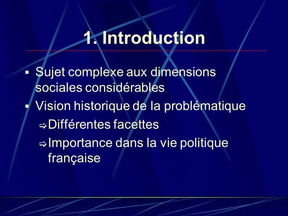 1. Introduction Sujet complexe aux dimensions sociales considérables Vision historique de la problématique Différentes facettes Importance dans la vie