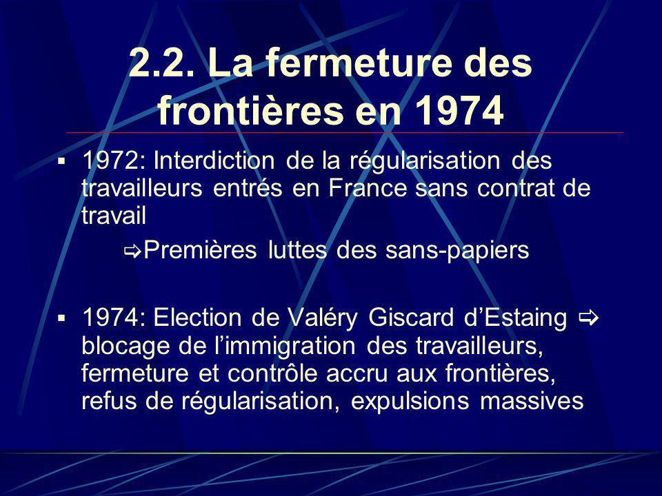 2.2. La fermeture des frontières en 1974 1972: Interdiction de la régularisation des travailleurs entrés en France sans contrat de travail Premières l