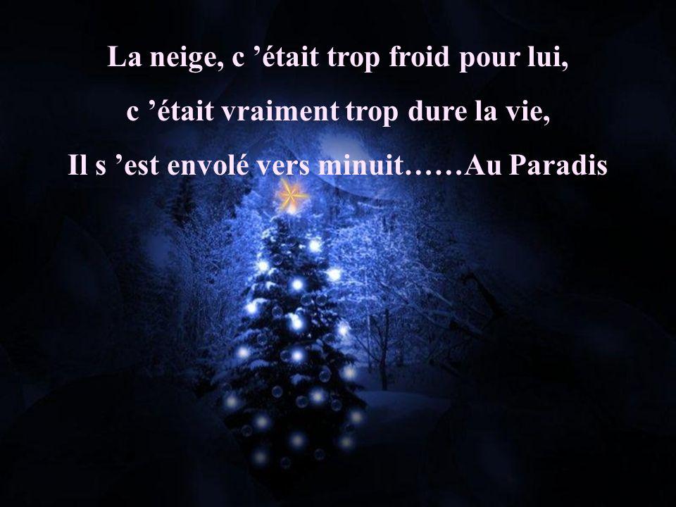 La neige, c était trop froid pour lui, c était vraiment trop dure la vie, Il s est envolé vers minuit……Au Paradis