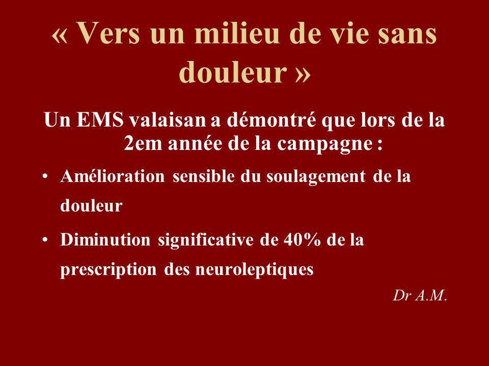 « Vers un milieu de vie sans douleur » Un EMS valaisan a démontré que lors de la 2em année de la campagne : Amélioration sensible du soulagement de la douleur Diminution significative de 40% de la prescription des neuroleptiques Dr A.M.