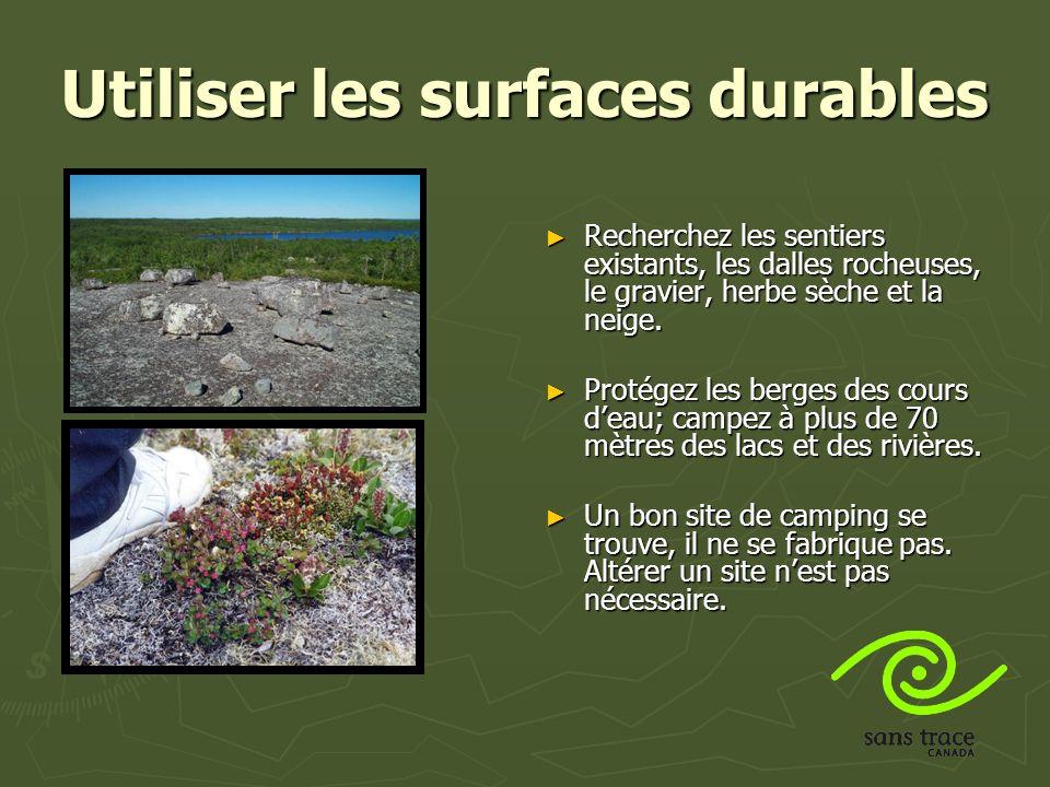 Utiliser les surfaces durables Recherchez les sentiers existants, les dalles rocheuses, le gravier, herbe sèche et la neige.