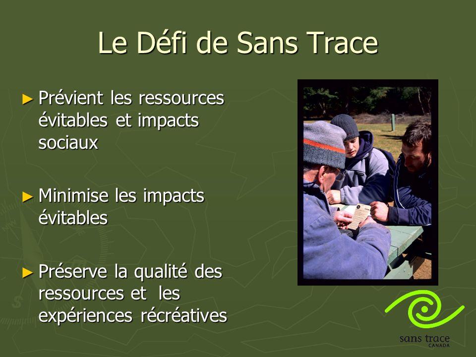 Le Défi de Sans Trace Prévient les ressources évitables et impacts sociaux Prévient les ressources évitables et impacts sociaux Minimise les impacts évitables Minimise les impacts évitables Préserve la qualité des ressources et les expériences récréatives Préserve la qualité des ressources et les expériences récréatives