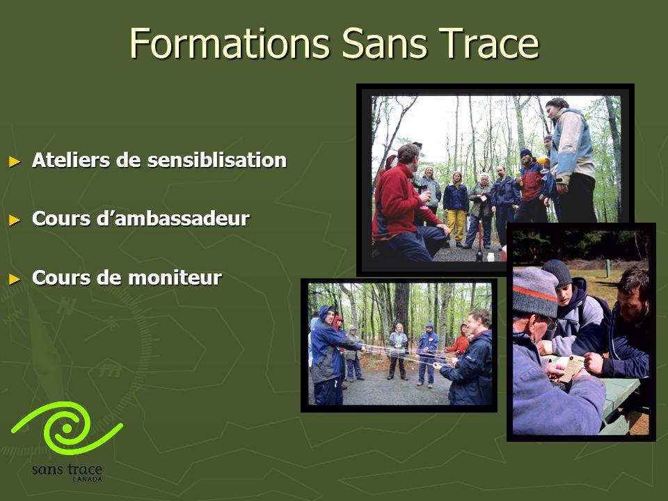 Formations Sans Trace Ateliers de sensiblisation Ateliers de sensiblisation Cours dambassadeur Cours dambassadeur Cours de moniteur Cours de moniteur