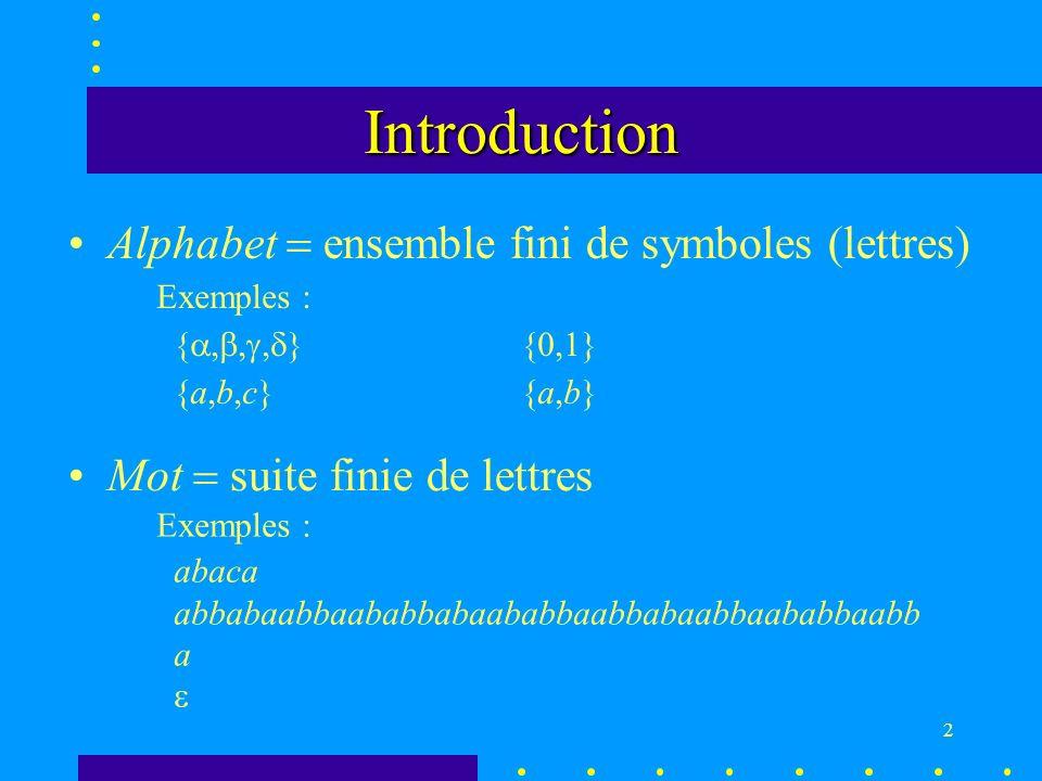 2 Introduction Alphabet ensemble fini de symboles (lettres) Exemples : { } {0,1} {a,b,c}{a,b} Exemples : abaca abbabaabbaababbabaababbaabbabaabbaababbaabb a Mot suite finie de lettres