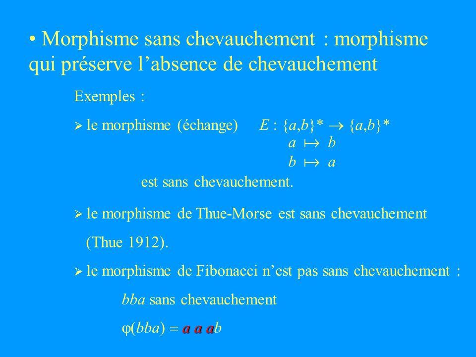 Morphisme sans chevauchement : morphisme qui préserve labsence de chevauchement Exemples : le morphisme (échange) E : {a,b}* {a,b}* a b b a est sans chevauchement.