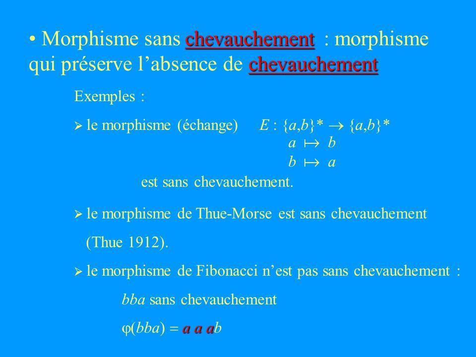 chevauchement chevauchement Morphisme sans : morphisme qui préserve labsence de Exemples : le morphisme (échange) E : {a,b}* {a,b}* a b b a est sans chevauchement.