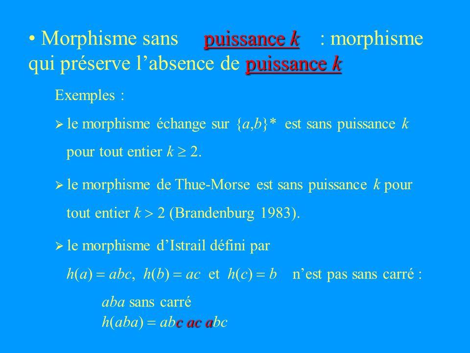 puissance k puissance k puissance k Morphisme sans : morphisme qui préserve labsence de le morphisme de Thue-Morse est sans puissance k pour tout entier k 2 (Brandenburg 1983).