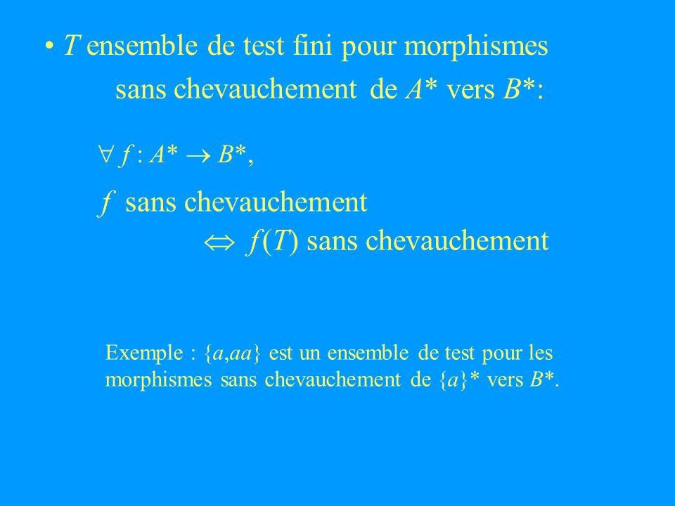 T ensemble de test fini pour morphismes sans de A* vers B*: chevauchement f sans chevauchement f (T) sans chevauchement f : A* B*, Exemple : {a,aa} est un ensemble de test pour les morphismes sans chevauchement de {a}* vers B*.