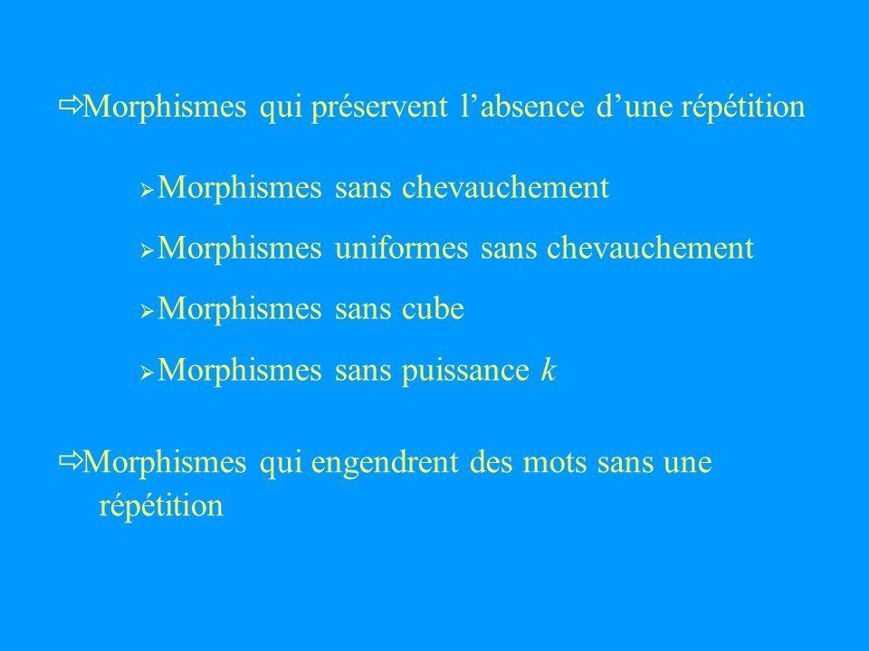 Morphismes qui préservent labsence dune répétition Morphismes qui engendrent des mots sans une répétition Morphismes sans chevauchement Morphismes uniformes sans chevauchement Morphismes sans cube Morphismes sans puissance k