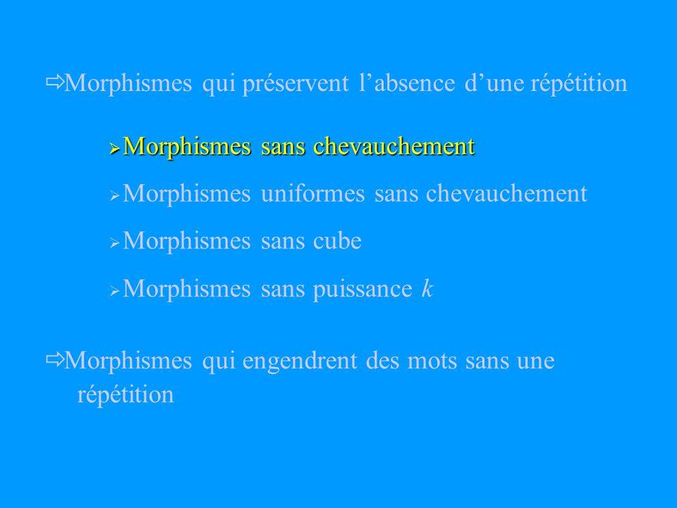 Morphismes qui préservent labsence dune répétition Morphismes qui engendrent des mots sans une répétition Morphismes sans chevauchement Morphismes sans chevauchement Morphismes uniformes sans chevauchement Morphismes sans cube Morphismes sans puissance k