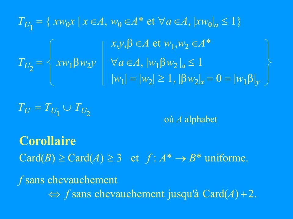 T U 1 { xw 0 x | x A, w 0 A* et a A, |xw 0 | a 1} x,y, A et w 1,w 2 A* T U 2 xw 1 w 2 y a A, |w 1 w 2 | a 1 |w 1 | |w 2 | 1, | w 2 | x 0 |w 1 | y T U T U 1 T U 2 où A alphabet Corollaire Card(B) Card(A) 3 et f : A* B* uniforme.