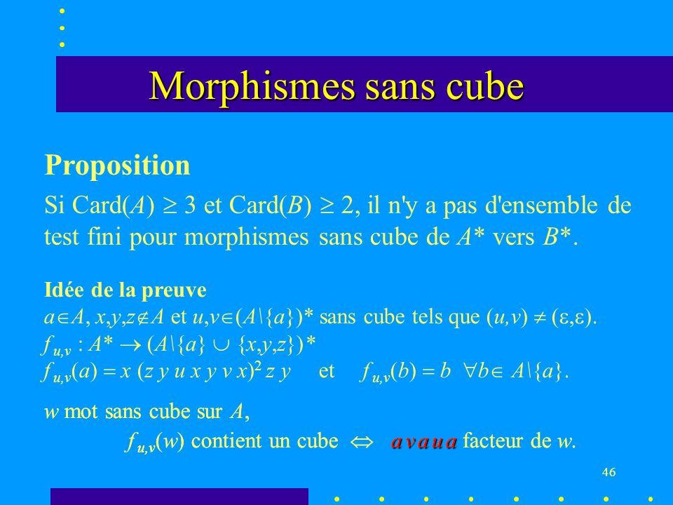 46 w mot sans cube sur A, f u,v (w) contient un cube a v a u a facteur de w.