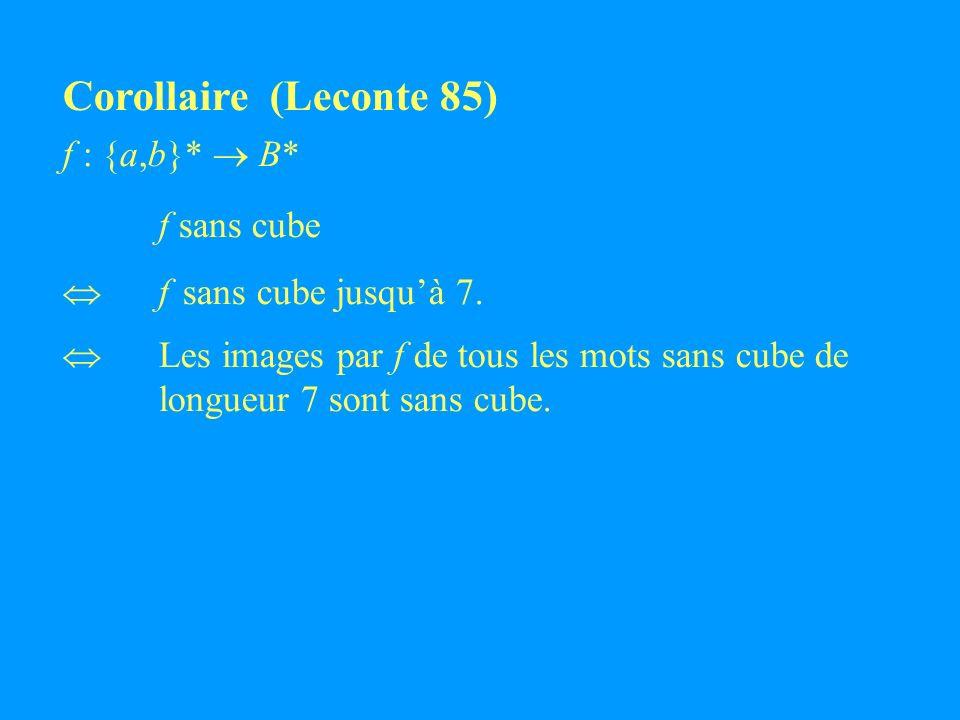 Corollaire (Leconte 85) f : {a,b}* B* f sans cube f sans cube jusquà 7.