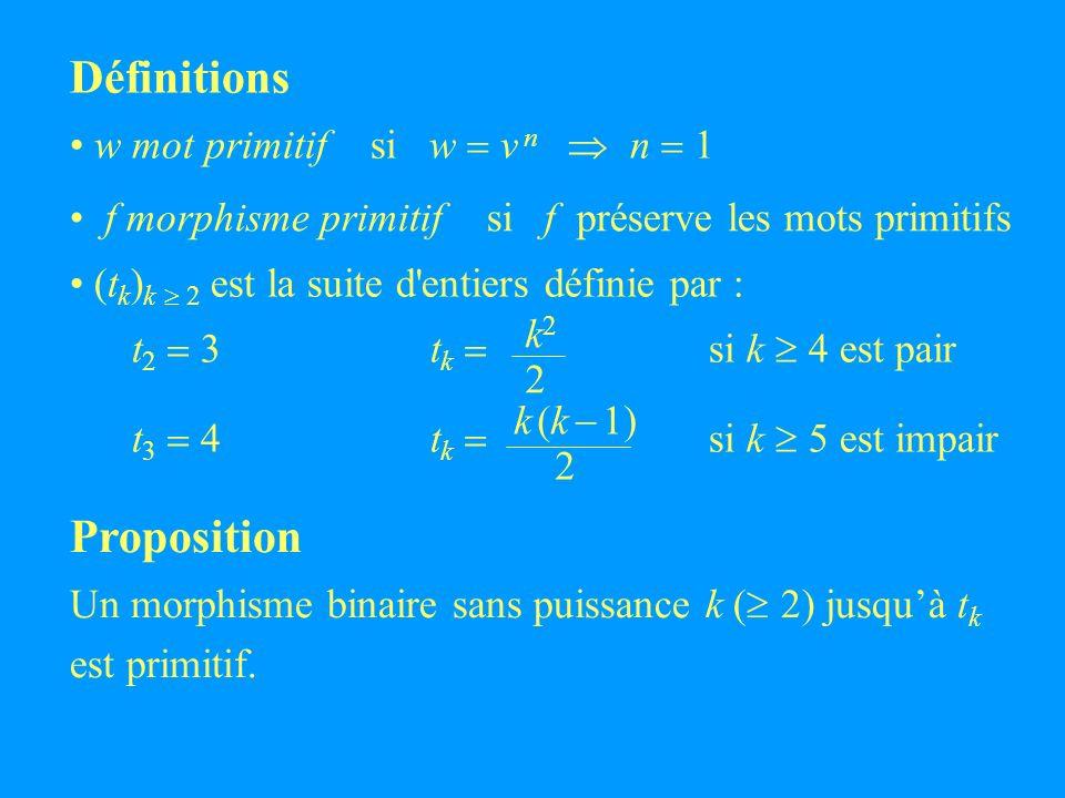 (t k ) k 2 est la suite d entiers définie par : t 2 3 t k si k 4 est pair t 3 4 t k si k 5 est impair Définitions w mot primitif si w v n n 1 k22k22 k (k 1) 2 Proposition Un morphisme binaire sans puissance k ( 2) jusquà t k est primitif.