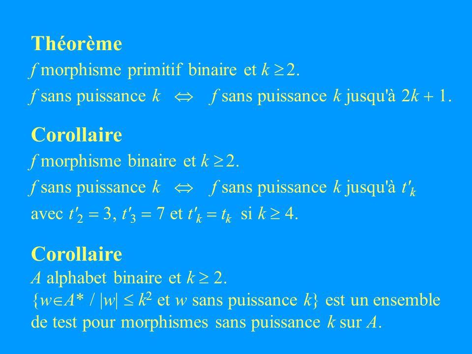 Théorème f morphisme primitif binaire et k 2. f sans puissance k f sans puissance k jusqu à 2k 1.