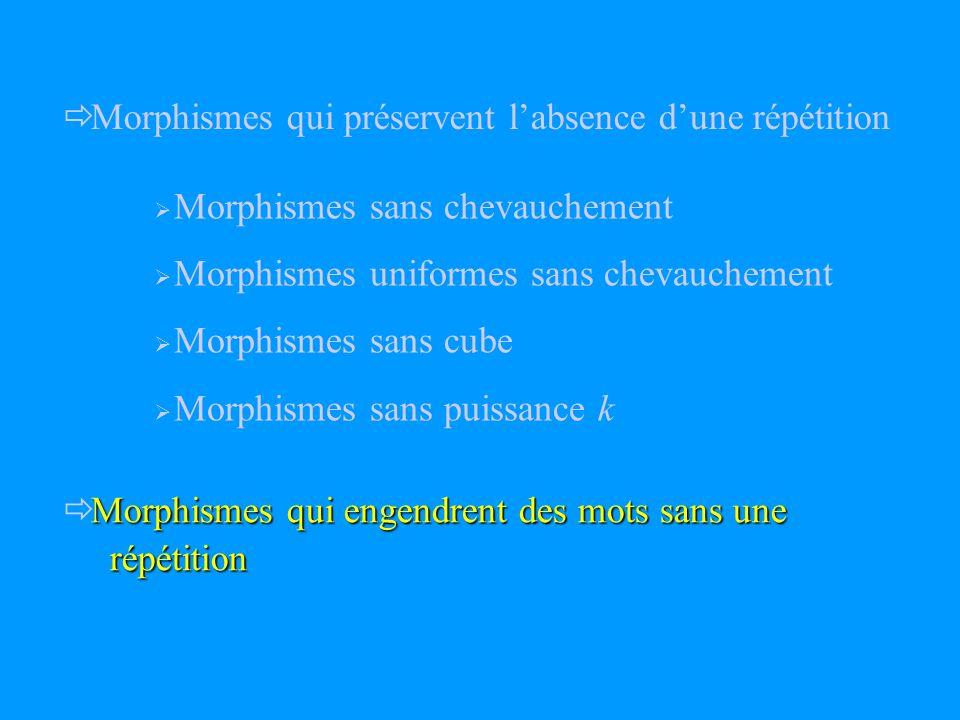 Morphismes qui préservent labsence dune répétition Morphismes qui engendrent des mots sans une répétition répétition Morphismes sans chevauchement Morphismes uniformes sans chevauchement Morphismes sans cube Morphismes sans puissance k