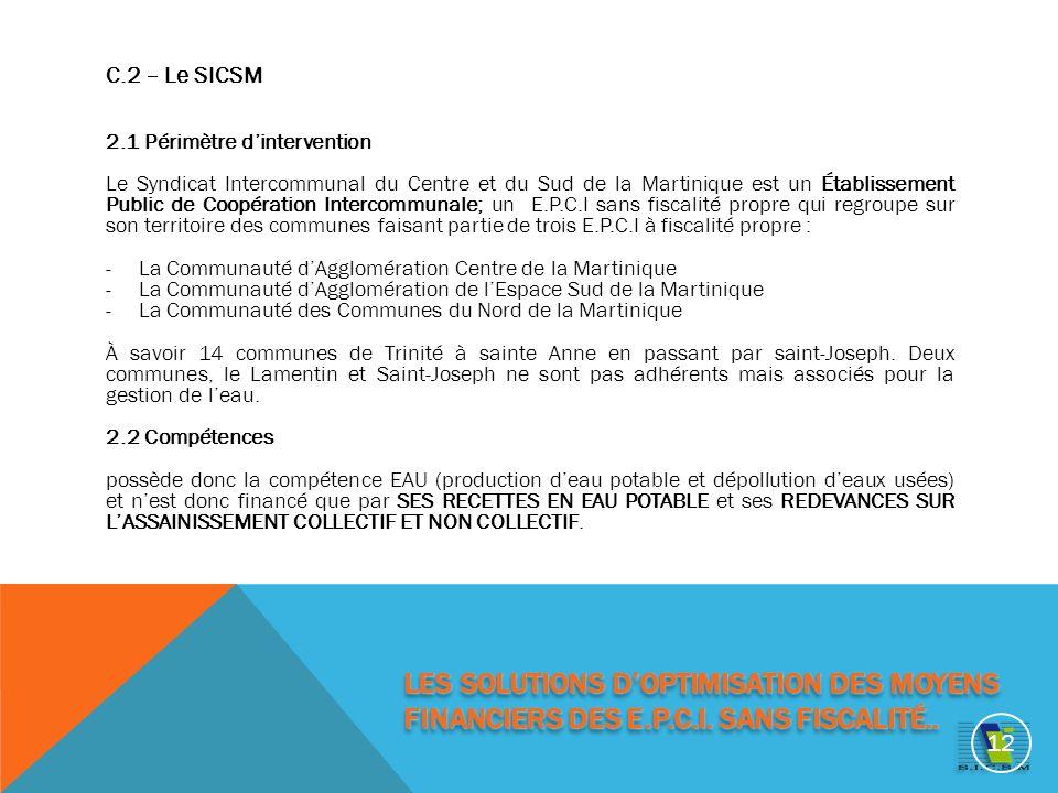 C.2 – Le SICSM 2.1 Périmètre dintervention Le Syndicat Intercommunal du Centre et du Sud de la Martinique est un Établissement Public de Coopération Intercommunale; un E.P.C.I sans fiscalité propre qui regroupe sur son territoire des communes faisant partie de trois E.P.C.I à fiscalité propre : -La Communauté dAgglomération Centre de la Martinique -La Communauté dAgglomération de lEspace Sud de la Martinique -La Communauté des Communes du Nord de la Martinique À savoir 14 communes de Trinité à sainte Anne en passant par saint-Joseph.