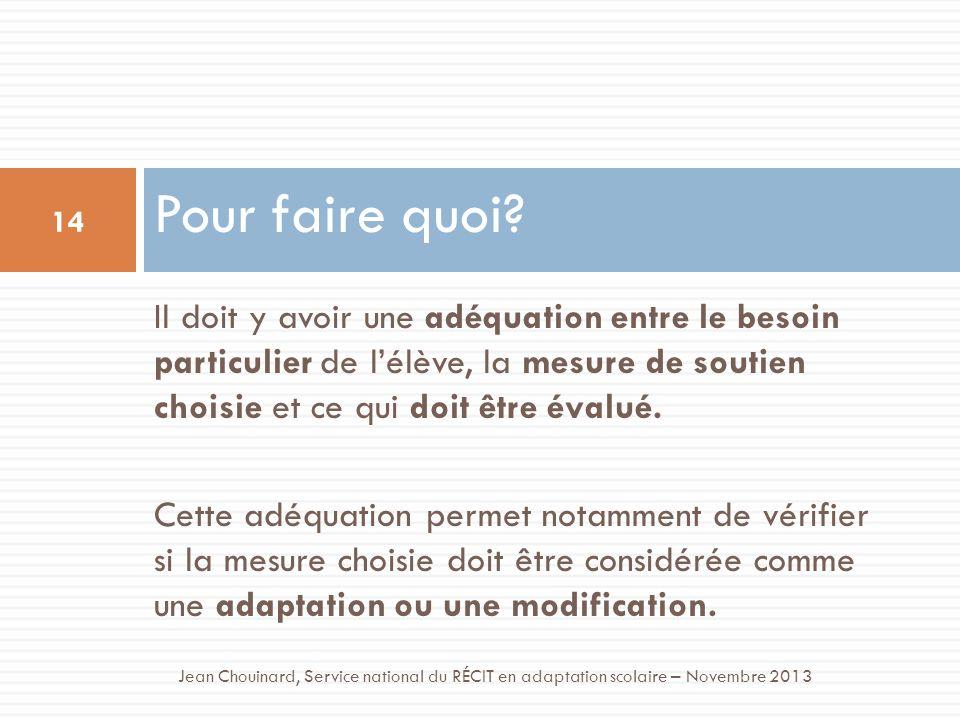 Pour faire quoi? 14 Jean Chouinard, Service national du RÉCIT en adaptation scolaire – Novembre 2013 Il doit y avoir une adéquation entre le besoin pa