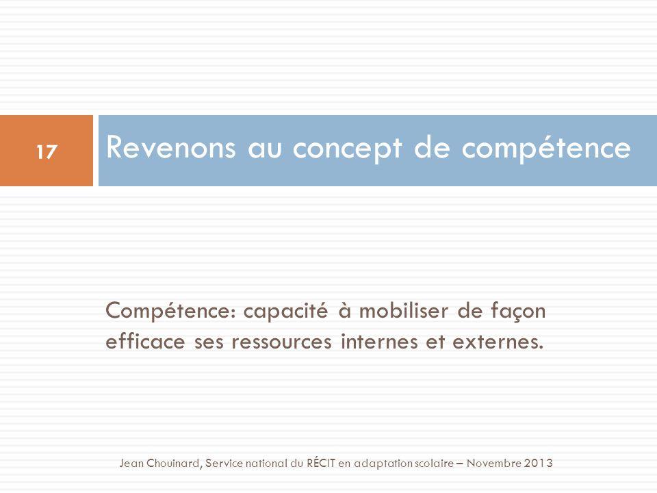 Compétence: capacité à mobiliser de façon efficace ses ressources internes et externes. Revenons au concept de compétence 17 Jean Chouinard, Service n