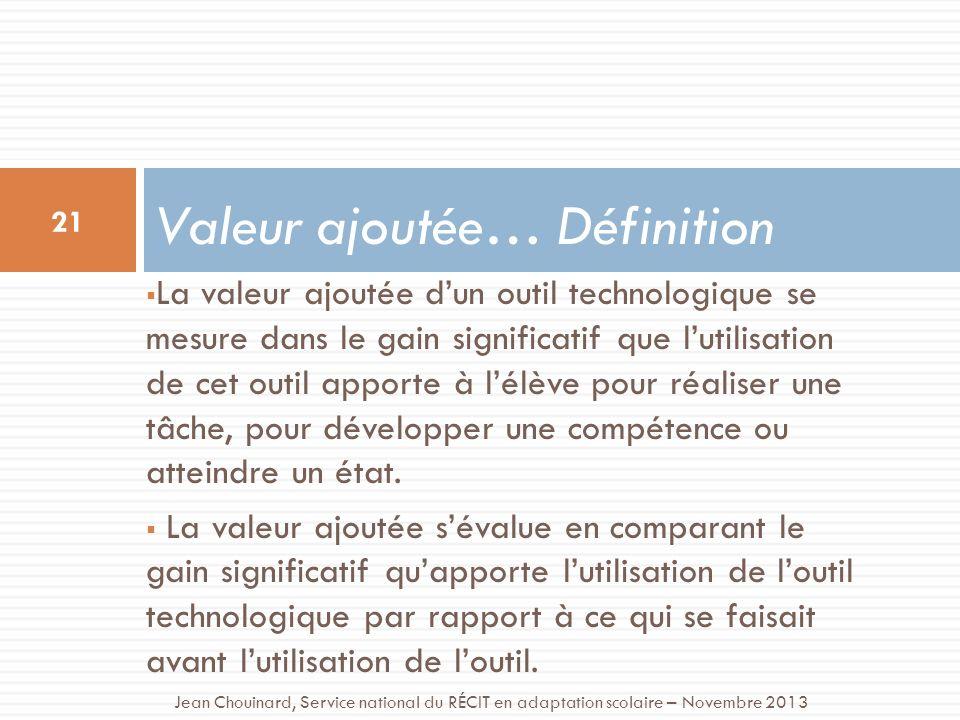 La valeur ajoutée dun outil technologique se mesure dans le gain significatif que lutilisation de cet outil apporte à lélève pour réaliser une tâche, pour développer une compétence ou atteindre un état.