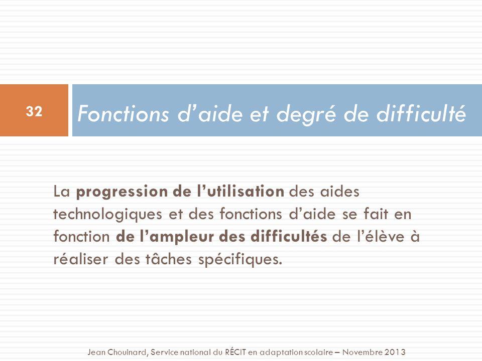 La progression de lutilisation des aides technologiques et des fonctions daide se fait en fonction de lampleur des difficultés de lélève à réaliser des tâches spécifiques.