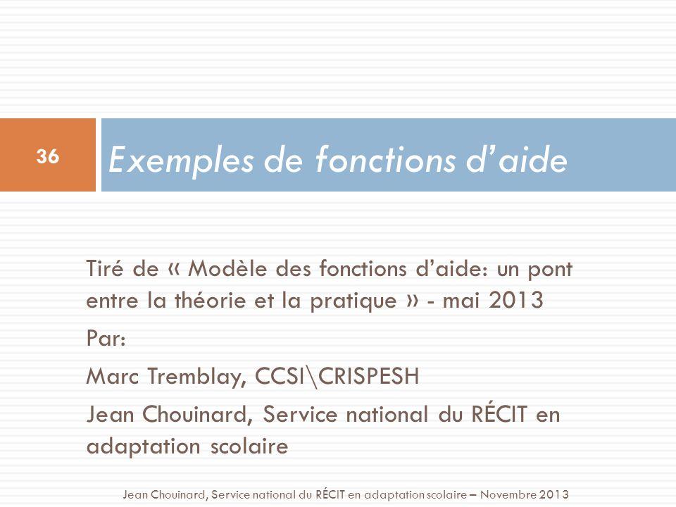 Tiré de « Modèle des fonctions daide: un pont entre la théorie et la pratique » - mai 2013 Par: Marc Tremblay, CCSI\CRISPESH Jean Chouinard, Service n