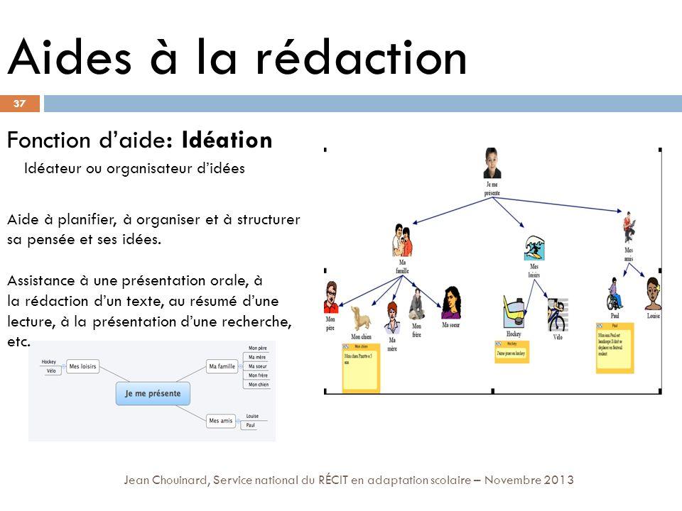 37 Jean Chouinard, Service national du RÉCIT en adaptation scolaire – Novembre 2013 Aides à la rédaction Fonction daide: Idéation Idéateur ou organisa
