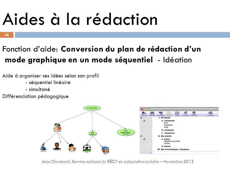 38 Jean Chouinard, Service national du RÉCIT en adaptation scolaire – Novembre 2013 Aides à la rédaction Fonction daide: Conversion du plan de rédacti