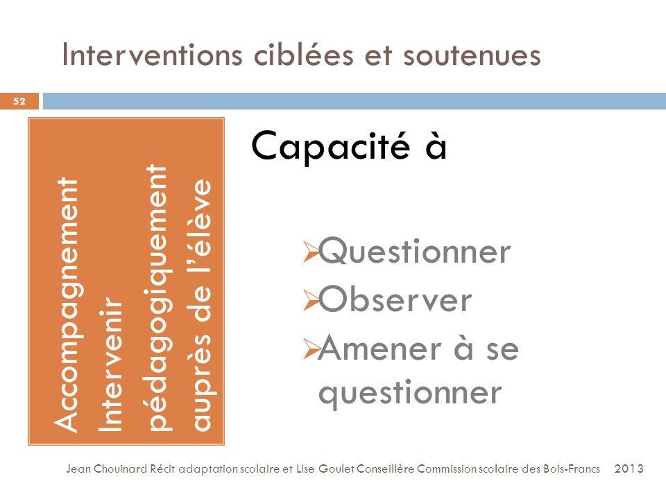 Interventions ciblées et soutenues 52 Accompagnement Intervenir pédagogiquement auprès de lélève Rééducation ciblée et soutenue Capacité à Questionner