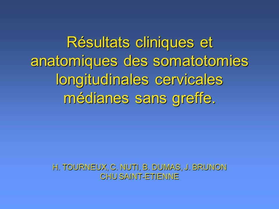 Résultats cliniques et anatomiques des somatotomies longitudinales cervicales médianes sans greffe. H. TOURNEUX, C. NUTI, B. DUMAS, J. BRUNON CHU SAIN