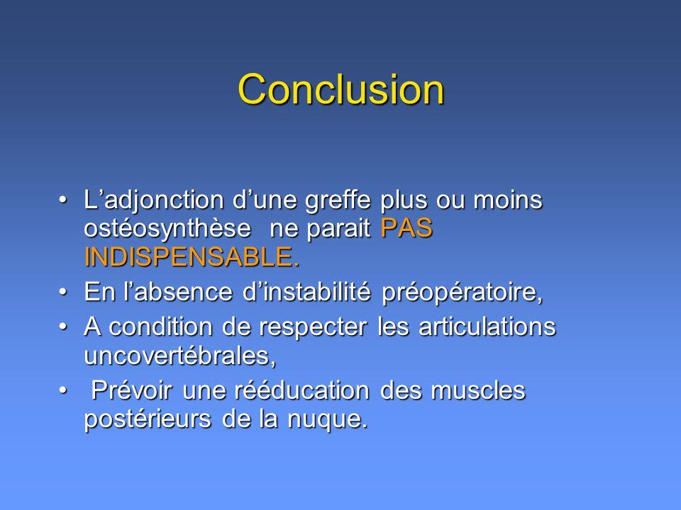 Conclusion Ladjonction dune greffe plus ou moins ostéosynthèse ne parait PAS INDISPENSABLE.Ladjonction dune greffe plus ou moins ostéosynthèse ne parait PAS INDISPENSABLE.