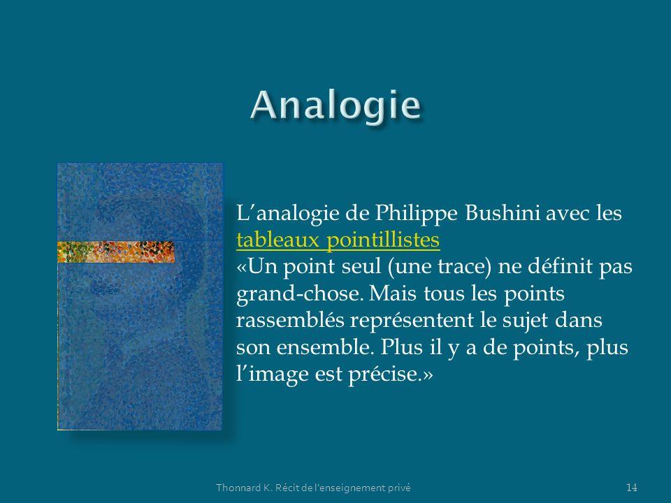 Thonnard K. Récit de l'enseignement privé 14 Lanalogie de Philippe Bushini avec les tableaux pointillistes tableaux pointillistes «Un point seul (une