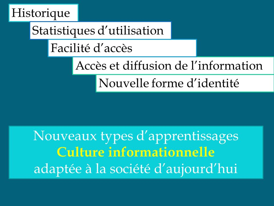 Historique Statistiques dutilisation Accès et diffusion de linformation Facilité daccès Nouveaux types dapprentissages Culture informationnelle adapté