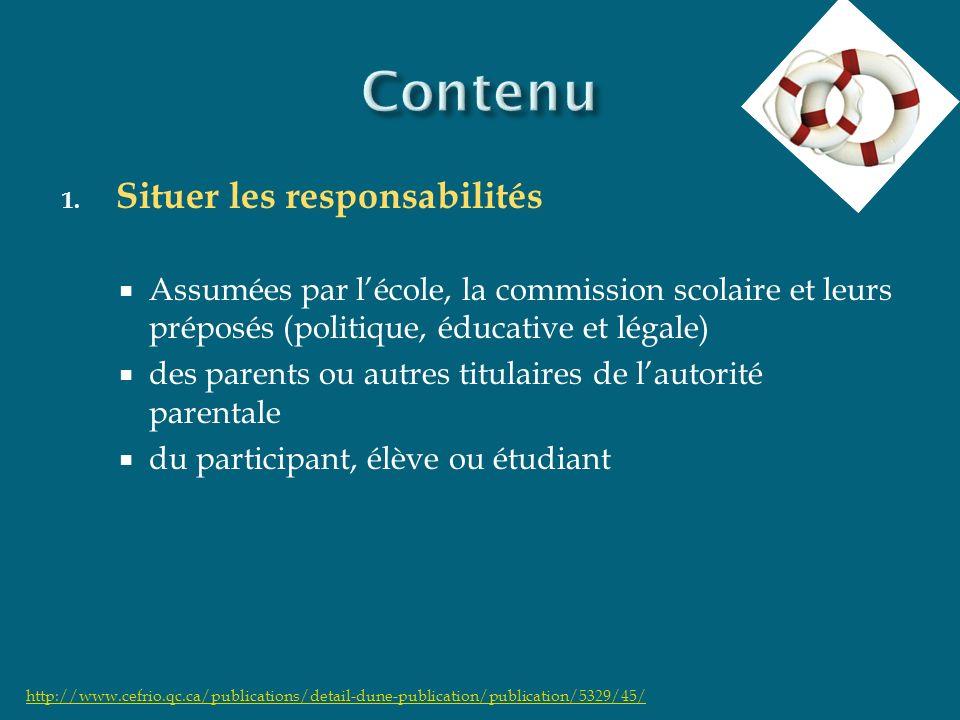 1. Situer les responsabilités Assumées par lécole, la commission scolaire et leurs préposés (politique, éducative et légale) des parents ou autres tit