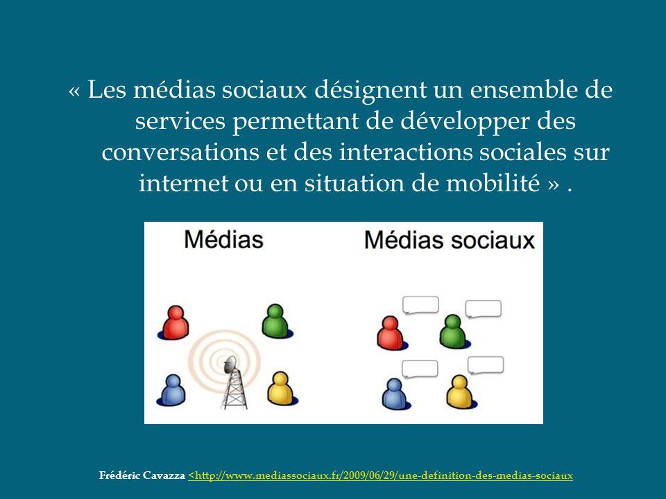« Les médias sociaux désignent un ensemble de services permettant de développer des conversations et des interactions sociales sur internet ou en situ
