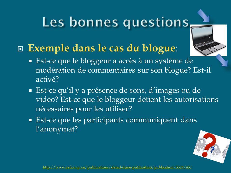 Exemple dans le cas du blogue : Est-ce que le bloggeur a accès à un système de modération de commentaires sur son blogue? Est-il activé? Est-ce quil y