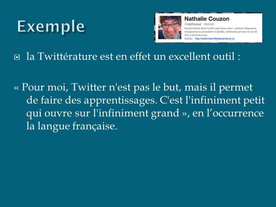 la Twittérature est en effet un excellent outil : « Pour moi, Twitter n est pas le but, mais il permet de faire des apprentissages.