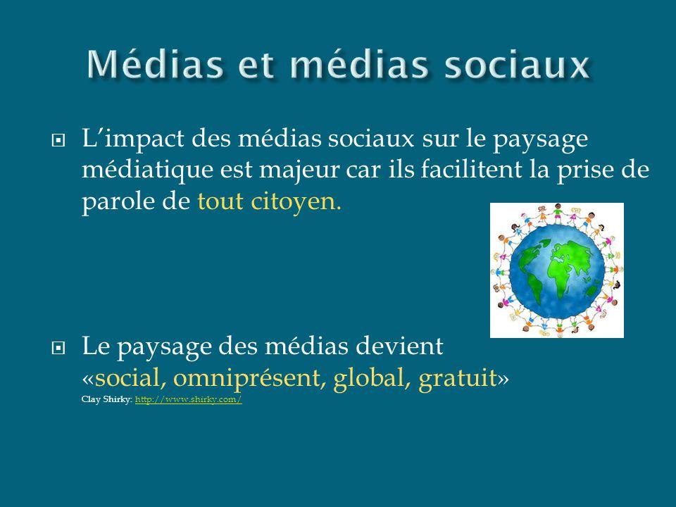INFORMATION via les médias sociaux RÉSEAUX TRANSFORMATION CURATION SELECTION SOURCES MULTIPLES Mass médias «one to many» «many to many» Canaux de diffusion libres de tout contrôle éditorial DIVERSITÉS DES STATUTS DES PERSONNES QUI PRENNENT LA PAROLE DIVERSITÉS DES STATUTS DES PERSONNES QUI PRENNENT LA PAROLE
