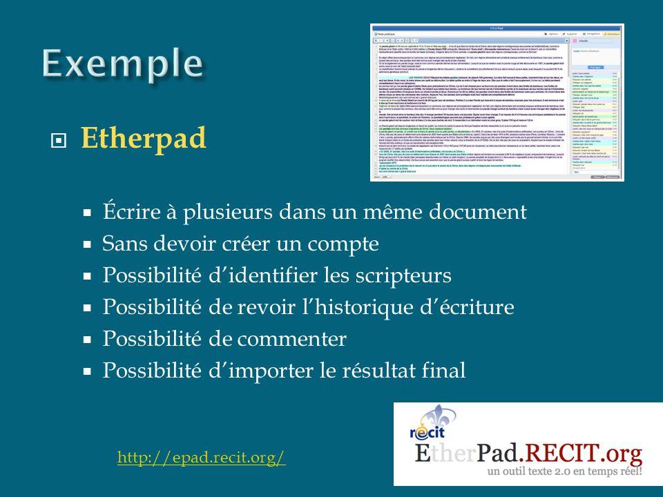 Etherpad Écrire à plusieurs dans un même document Sans devoir créer un compte Possibilité didentifier les scripteurs Possibilité de revoir lhistorique