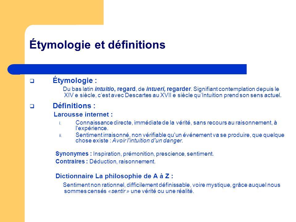 Étymologie et définitions Étymologie : Du bas latin intuitio, regard, de intueri, regarder. Signifiant contemplation depuis le XIV e siècle, cest avec