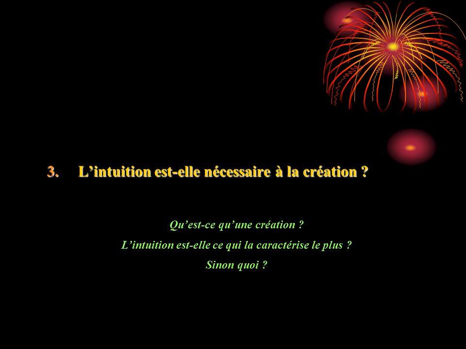 3.Lintuition est-elle nécessaire à la création . Quest-ce quune création .