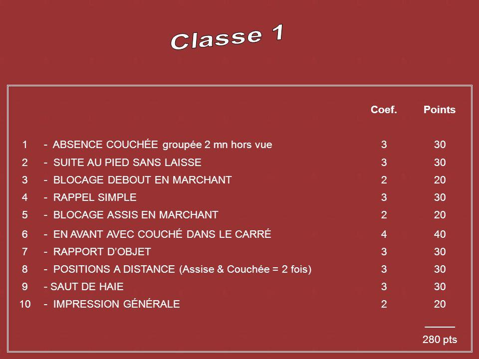 Coef.Points 1- ABSENCE COUCHÉE groupée 2 mn hors vue330 2- SUITE AU PIED SANS LAISSE330 3- BLOCAGE DEBOUT EN MARCHANT220 4- RAPPEL SIMPLE330 5- BLOCAGE ASSIS EN MARCHANT220 6- EN AVANT AVEC COUCHÉ DANS LE CARRÉ440 7- RAPPORT DOBJET330 8- POSITIONS A DISTANCE (Assise & Couchée = 2 fois)330 9- SAUT DE HAIE330 10- IMPRESSION GÉNÉRALE220 _____ 280 pts