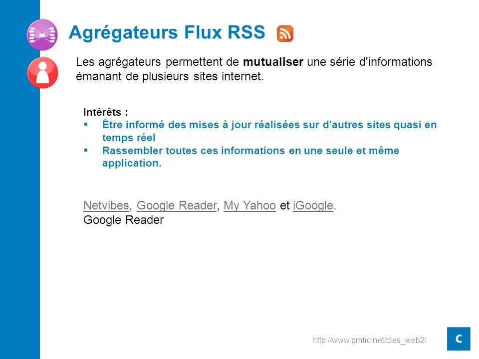 Agrégateurs Flux RSS Intérêts : Être informé des mises à jour réalisées sur d autres sites quasi en temps réel Rassembler toutes ces informations en une seule et même application.