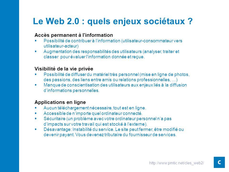 Le Web 2.0 : quels enjeux sociétaux .