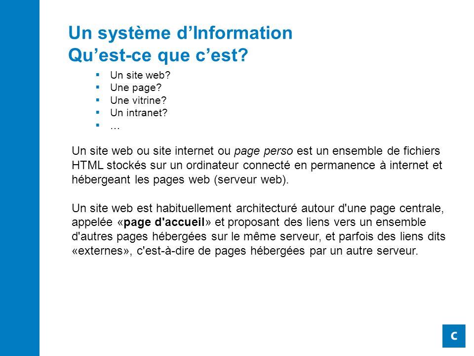 Un système dInformation Quest-ce que cest. Un site web.