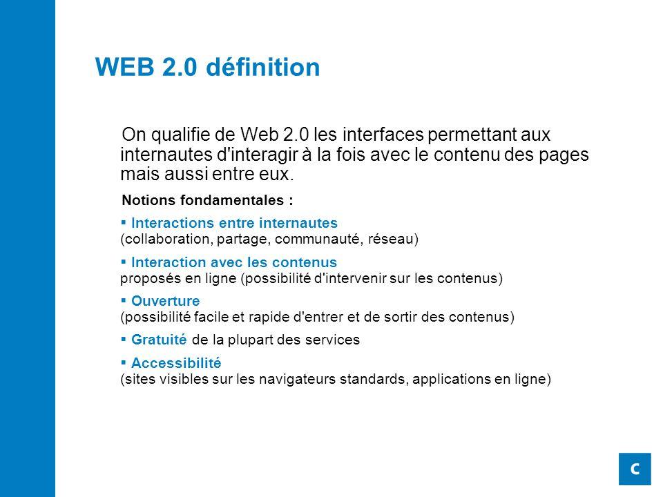 WEB 2.0 définition On qualifie de Web 2.0 les interfaces permettant aux internautes d interagir à la fois avec le contenu des pages mais aussi entre eux.