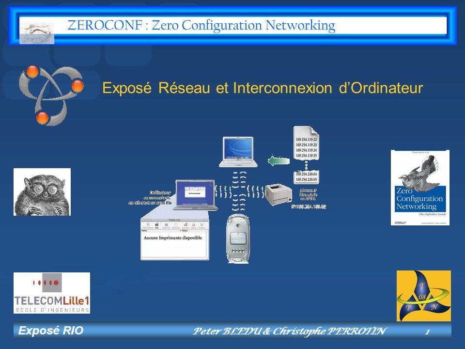 Exposé RIO Peter BLEDU & Christophe PERROTIN12 Protocole SLP Totalement indépendant du DNS.